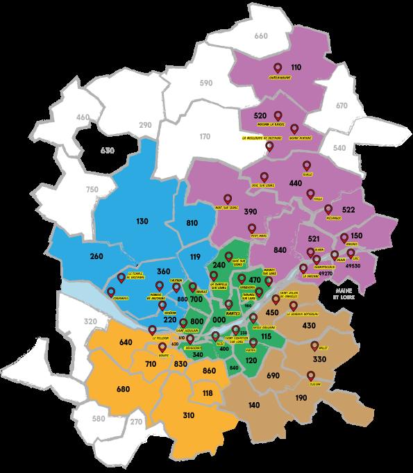 Carte Loire Atlantique